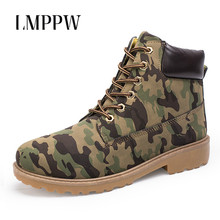 Купить с кэшбэком Men Boots 2018 Fashion Men Ankle Boots Autumn Winter Martin Boots Male Leather Casual Outdoor Work Boots Camouflage Men Shoes 2A
