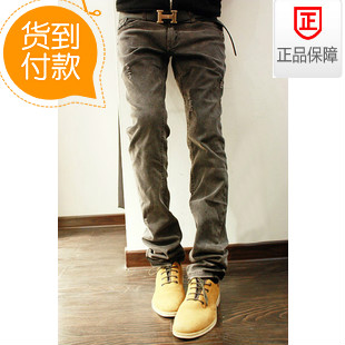 Men's clothing 2013 spring skinny pants slim spring water wash vintage classic hole male jeans
