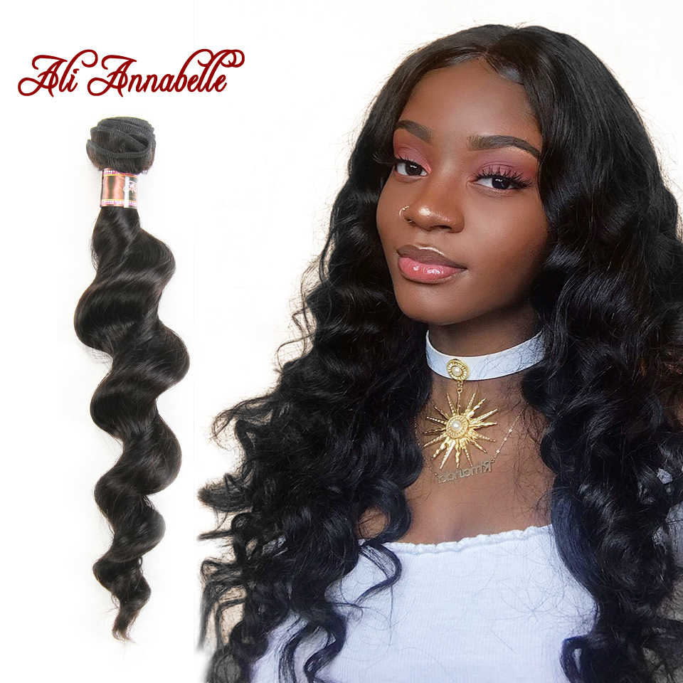 "ALI ANNABELLE HAIR Peruvian Loose Wave Machine Double Hair Weft 100% Remy Human Hair Weave Bundles 1/3/4 PCS 10""-28"""