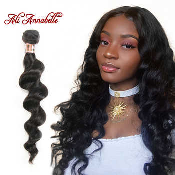ALI ANNABELLE HAIR Peruvian Loose Wave Machine Double Hair Weft 100% Remy Human Hair Weave Bundles 1/3/4 PCS 10