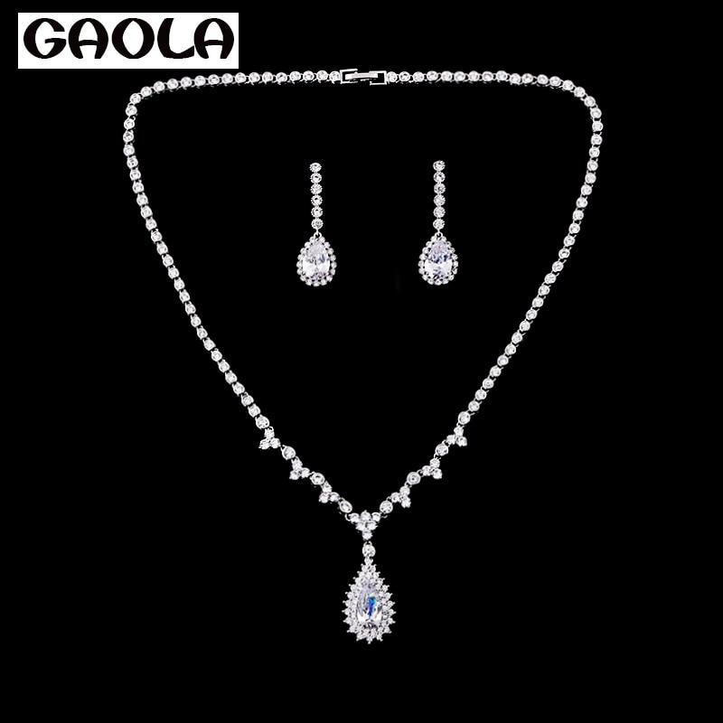 GAOLA cristal goutte d'eau ensembles de bijoux mode 2016 collier africain et boucle d'oreille ensemble pour les femmes GLN0036/GLE2830