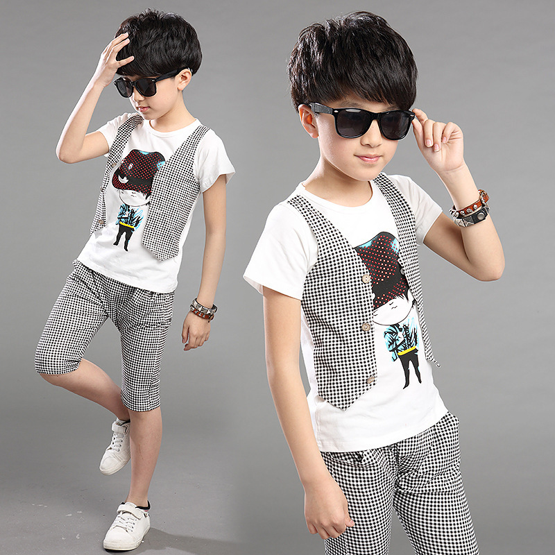 2Pcs Boy Clothing Set Gentleman Suit 2017 Summer Boys Plaid Clothing 100%  Cotton T Shirt Trousers Kids Clothes Sets Costume 2017 baby boys clothing set gentleman boy clothes toddler summer casual children infant t shirt pants 2pcs boy suit kids clothes