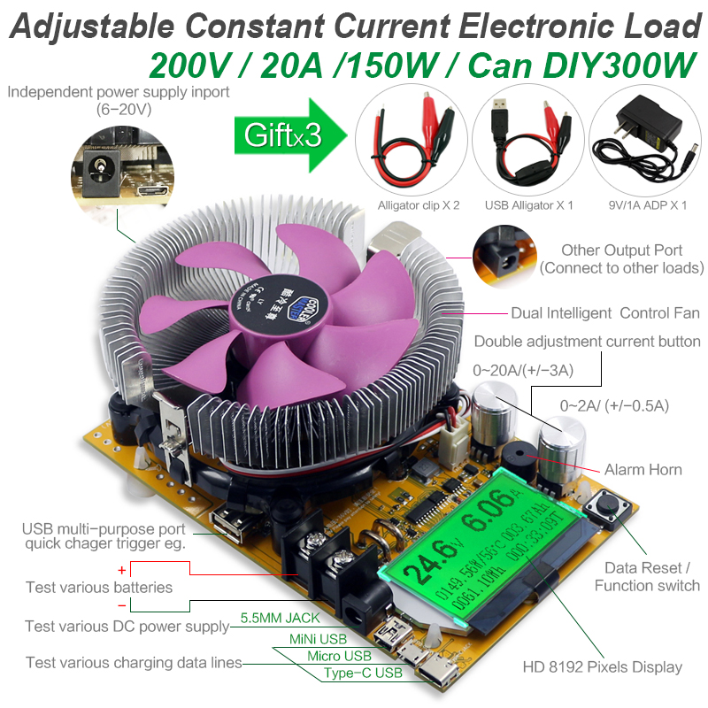 8 In 1 150W/180W Digital Battery Capacity Tester Voltmeter Adjustable Constant Current Electronic Load Charger USB Meter Indicator