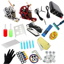 Complete 2 Tattoo Machine Power Supply Foot Pedal Clip Cord Grip Needle Tips Kit TM KIT