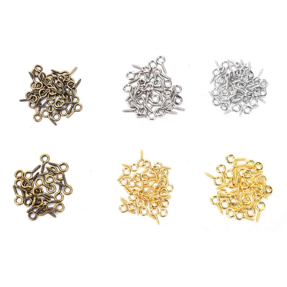 100 pcsGold/srebrny kolor 8mm 10mm ustalenia biżuteria akcesoria małe owcze oczy paznokci śruby dla zroszony wisiorek – biżuteria