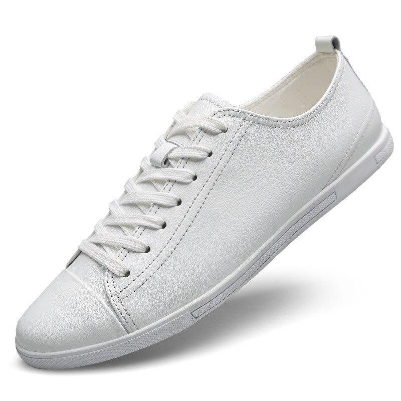 Mocassins Zapatos Lacets blanc Cuir Plates Britannique Grande Hombres Nouveau Noir Véritable Taille Baskets 2019 Printemps Respirants Décontractées Hommes Chaussures À wZITgqqWH
