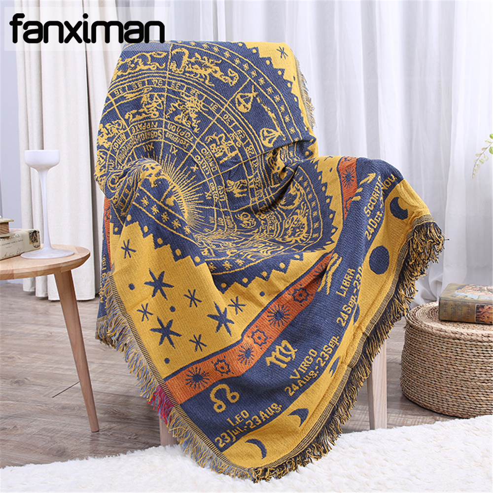 Bohemian Cotton Knitted Decorative Sofa Blanket Thread Blanket for Beds Soft Bed Plaid Vintage Throws Home