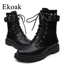 Ekoak New Classic Autumn Winter Rivets Martin Boots Sexy Ankle Boots for Women Ladies Shoes Woman Leather Motorcycle Boots