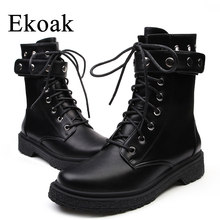 Ekoak New Classic Autumn Winter Rivets Martin Boots Sexy Ankle Boots for Women  Ladies Shoes Woman Leather Motorcycle Boots dece3db48c3a