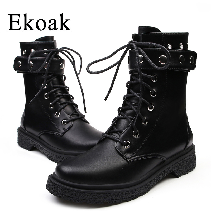 Ekoak Novo Clássico Outono Inverno Rebites Martin Botas Sexy Botas de Tornozelo para Mulheres Sapatos Das Senhoras Mulher Botas De Couro Da Motocicleta