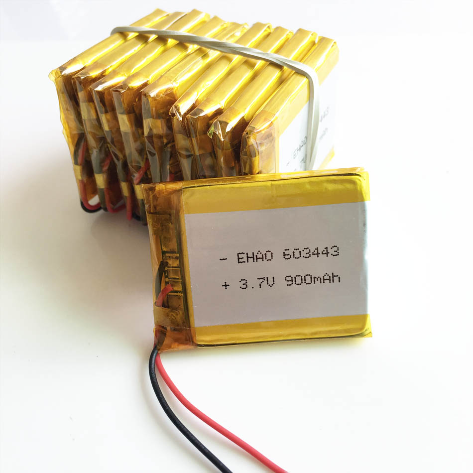 Wholesale 10 pcs 3.7V 900mAh 603443 Lithium Polymer Li-Po Rechargeable li ion Battery For Mp3 mobile phone electronic DVD part