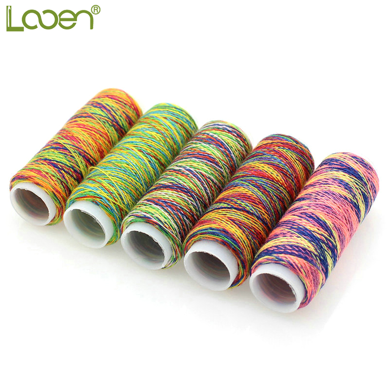 Looen 5Pcs/pack Rainbow Color Sewing Thread Hand Quilting Embroidery Sewing Thread For Home DIY Sewing Accessories Supplies Gift
