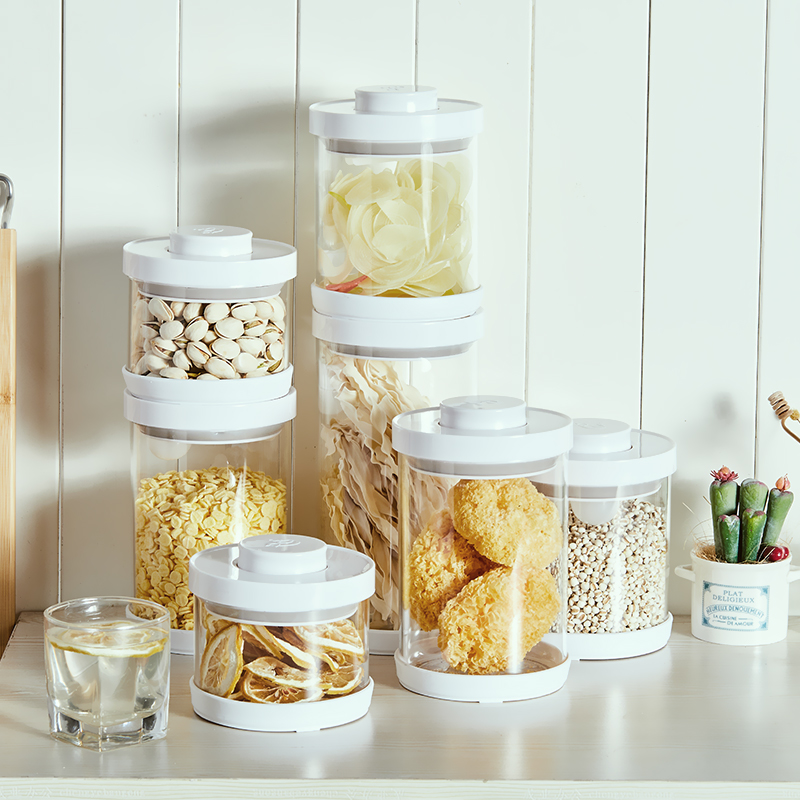 Airtight Food Glass Storage Box with Acrylic Spoon for Use Storing Cookies Sugar Flour Spices and Other Foods cashew