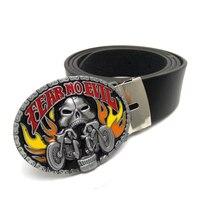 Belts for men with Fear No Evil Motorcycle Skull Belt Buckle Metal cinturones hombre marca famosa cintos para homens