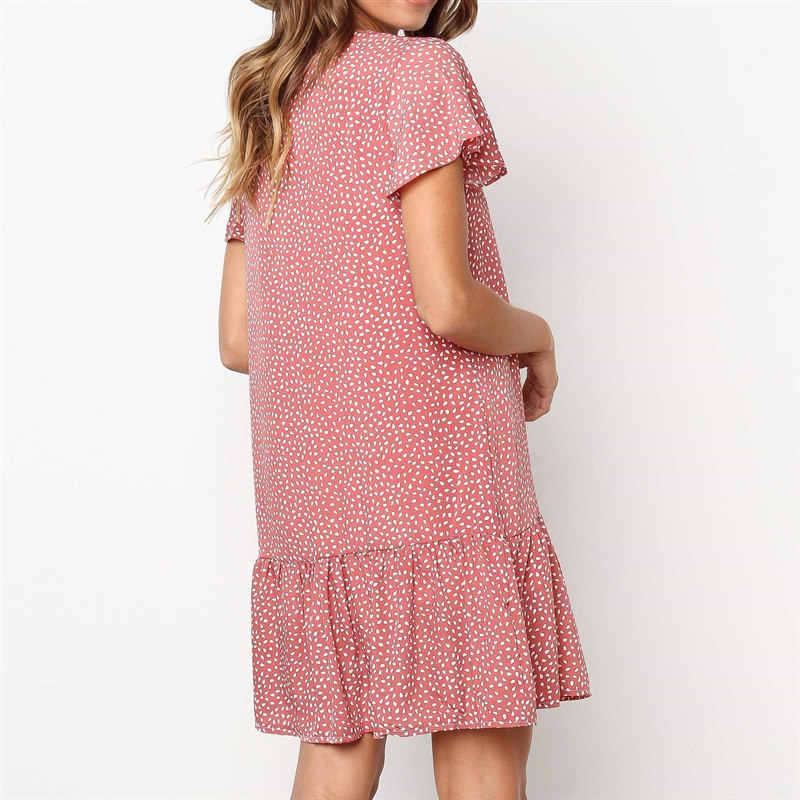 Водяные капельки с принтом гофрированные подол на пуговицах платье женское летнее с v-образным вырезом короткий рукав шифоновое платье повседневное свободное мини пляжное платье
