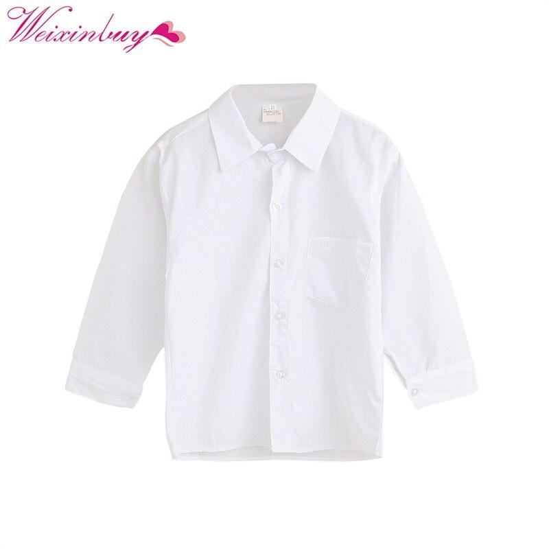 Trendmarkierung Weixinbuy Einfache Kinder Jungen Shirts Langarm Baumwolle Hemd Baby Formal Tops Reine Farbe Aromatischer Geschmack Mutter & Kinder