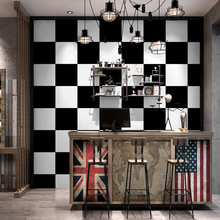 3D Stylish Black and white big grid mosaic wallpaper washable PVC living room bedroom household wall background decor paper