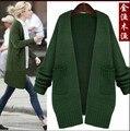 2017 весна женщин вскользь свитер кардиган длинный большой размер свободные женщин утолщение кардиган свитер Пальто куртки женские зеленый роза