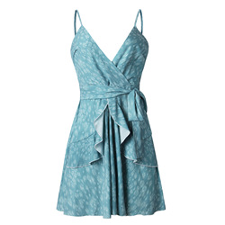 Summer Floral Printed Sexy Deep V Sling Dress Women Halter Ruffled Belt 2019 Fashion Ladies Party Mini Dresses Feamle Vetidos 4