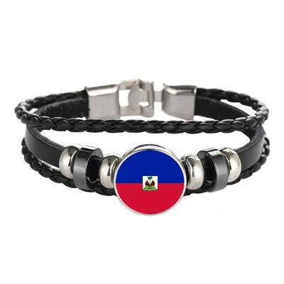 Responsible New Customized Haiti Flag Bracelets Trendy Leather Haiti Bracelets Women Men At All Costs