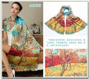 Image 3 - Women Winter Long Scarf Shawl Spring Autumn Female Genuine Silk Scarves Printed Summer 100% Mulberry Silk Beach Cover ups 2017