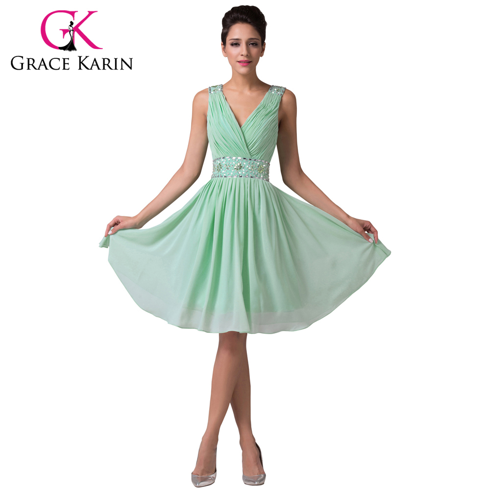 Grace karin charming mint green bridesmaid dresses knee length grace karin charming mint green bridesmaid dresses knee length chiffon satin beading sequin party gowns short bridesmaid dress in bridesmaid dresses from ombrellifo Choice Image