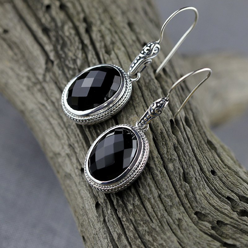Bali India Nepal Handmade Black Stone 925 Sterling Silver Drop Earrings For Women,Ellipse Jewelry With Natural Stone Earrings bocai silver makeup india nepal bali silver acts the role of by hand rainbow blue moon stone ring