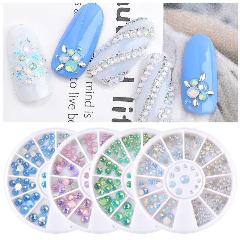 Opal Nail Rhinestones Flat Bottom 3D Nail Decorations Multi-size 4 Colors 3D Decoration in Wheel DIY Nail Art UV Gel Polish