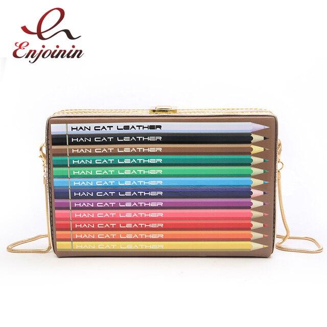 Личности мультфильм Цветной карандаш узор из искусственной кожи коробка вечерние Клатч женский сумки Сумка Crossbody сумка