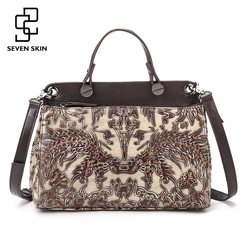 2017 New Women s Bags Female Genuine font b Leather b font Embossed Floral Print font