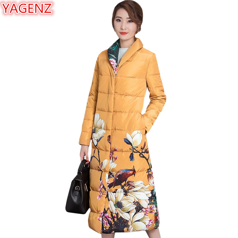 YAGENZ New product Winter Jacket Women Long section Women's clothing Parkas Coat Fashion Printing Retro Jacket High quality 675