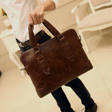 2017 crazy horse second leather briefcase male business handbag retro man messenger shoulder bags men's travel bag B00002