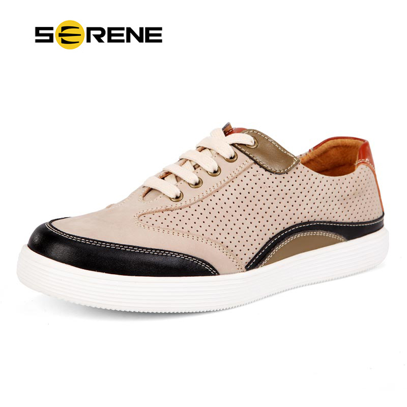 SERENE New 2017 Summer Fashion Shoes Men Casual Lace-up Flats Hollow Out Leather Shoes Men Comfort Breathable Shoes Zapatos 6296 new autumn serene 6280 fashion vintage low top lace up high quality cow leather men s casual shoes