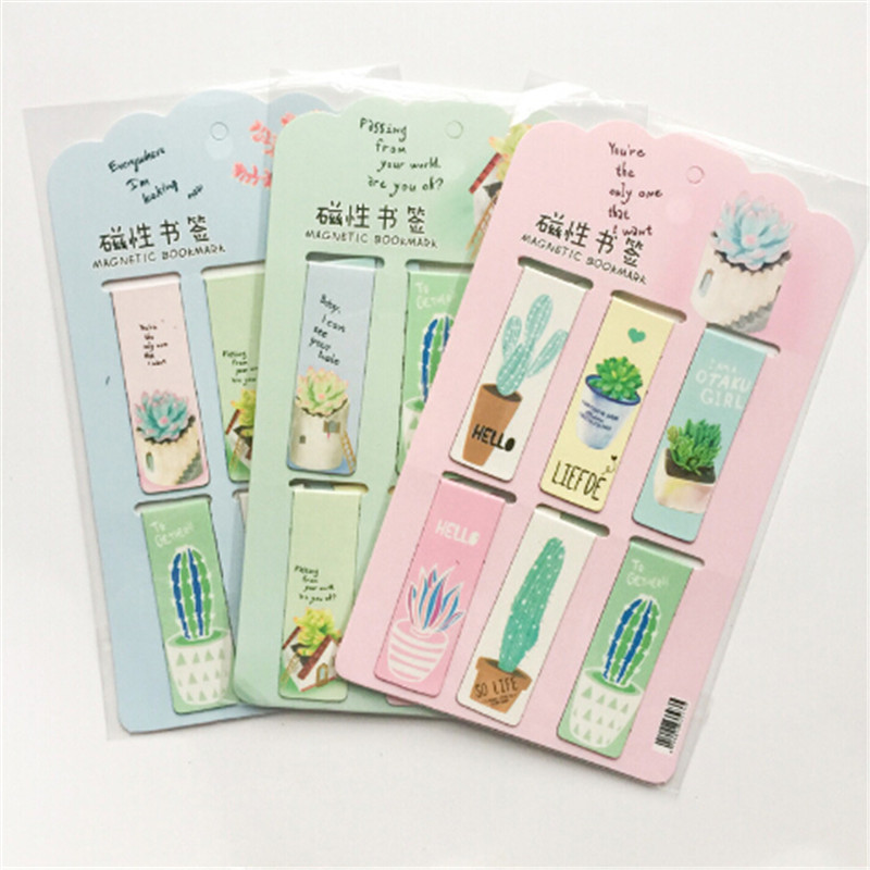 6pcs /Set Fresh Green Plants Cactus Magnetic Bookmarks Books Marker Of Page Stationery School Office Supply Paper Clip