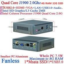 Безвентиляторный Мини-Компьютер с Intel Celeron J1900 Quad Core hd гостиная nano пк с 4 Г RAM 32 Г SSD