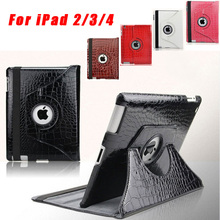 Fashion 360 Degree Rotating Crocodile Leather Case Cover for ipad 2 3 4, Wake Up Sleep Stand Smart Cover for iPad4 Free Shipping