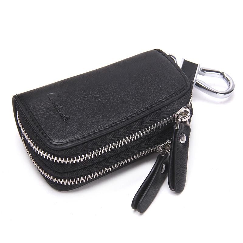 CONTACT'S Genuine Leather Car Key Wallets Fashion Key Holder Housekeeper Keys Organizer Double Zipper Keychain Case Key Pouch 1