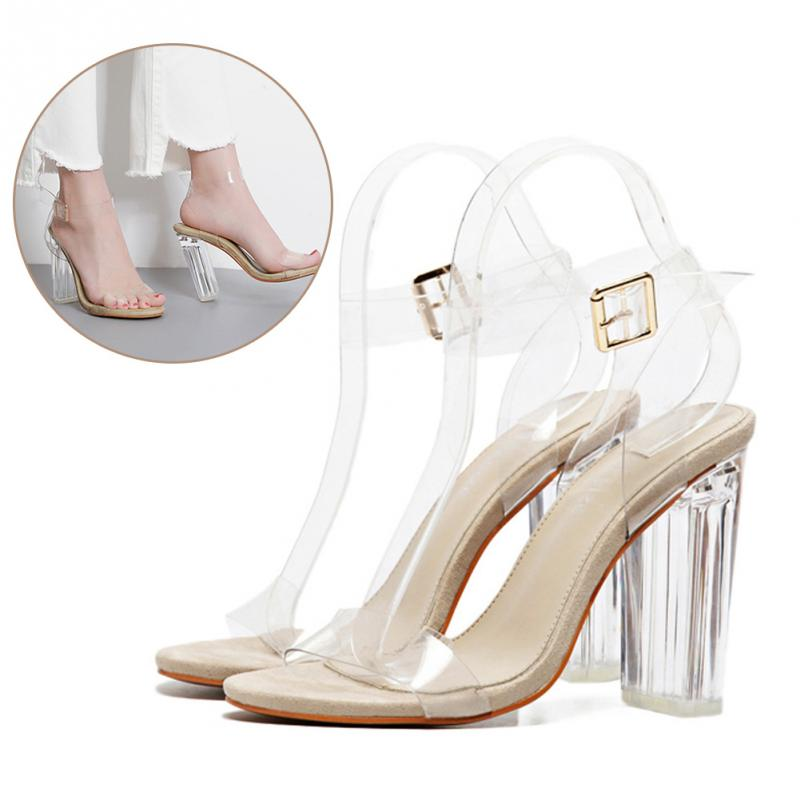 Fashion Gladiator Pumps Perspex Platform High Heels Sexy Women Shoes PVC Clear Crystal Classic Buckle Strap