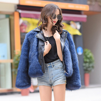 New Fashion Slim Fur Coat Women Patchwork PU Turn Down Collar Fake Fox Fur Coats For Women Zipper Laday Short Jacket Wine Red L