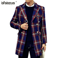 2016 new arrival winter Single-breasted fashion casual trench men, plaid jacket men,England plaid casual coat ,plus-size 2 color