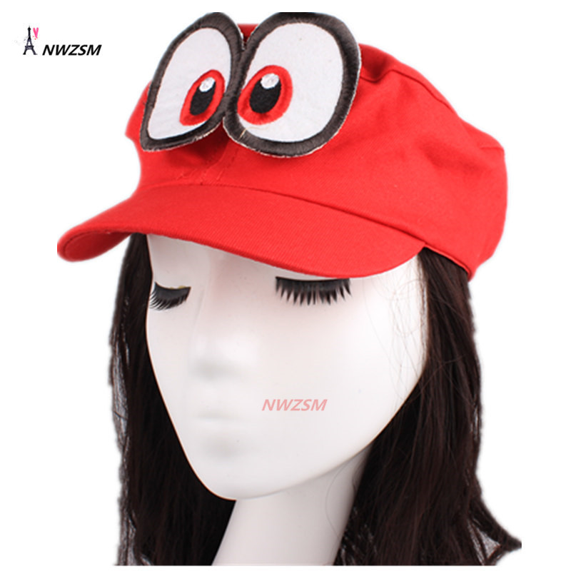 High Quality Hat Game Super Mario Odyssey Hat Adult Kids Anime Cosplay Cap Handmade Adjustable Hat