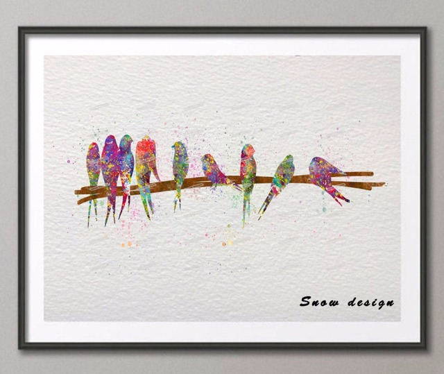 Birds On Wire Original Watercolor Canvas Painting Wall Art Poster