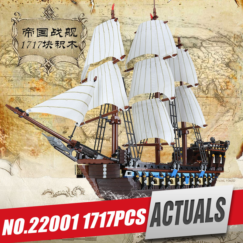 DHL Lepin 22001 Pirate Ship Imperial warships Model Building Kits Block Briks Toy Gift 1717pcs Compatible legoing 10210 for kids