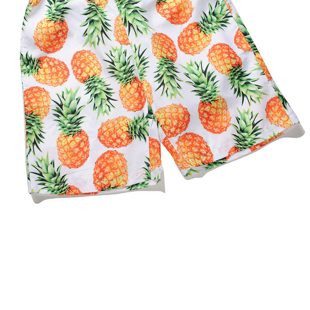 Funny 3D Pineapples Print Men Beach Board Shorts Quick Dry Bermudas Shorts Polyester Man Pants Boys Male Beachwear EU Size