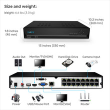 Reolink 16ch RLN16-410 5MP 4MP Ethernet Video Recorder con 3TB HDD incorporado + 2 ranuras SATA para Reolink cámaras HD IP(China)