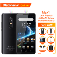 Blackview Max 1 6.01 Smartphone New Laser Projector 6GB+64GB Android 8.1 Portable Home Theater Movie TV Projector Mobile Phone