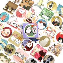 цены New Cute Colourful cat Paper Lable Stickers Crafts And Scrapbooking Decorative Lifelog Sticker DIY Lovely Stationery 46 PCS/box