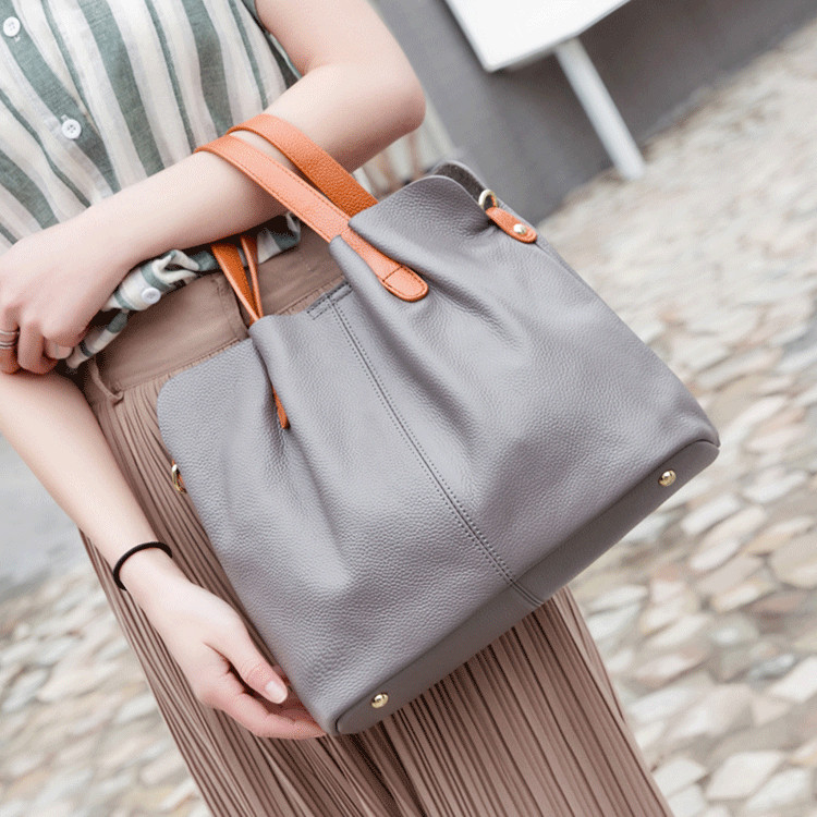 women handbag hit color Lady Genuine leather sub-bag large bag shoulder slung handbags female Casual Tote messenger bag women's