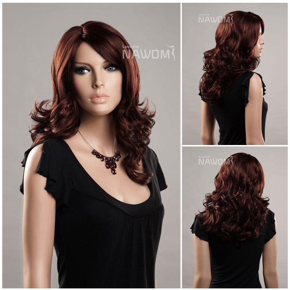 Cheap Hair Weaves Wigs realistic dark brown womens hair wig sexy full Ms.  Discount big wave fringe wigs 7dccf0ae67