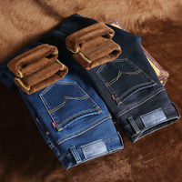 Classic Warm Jeans For Men Black Stretch Denim Male Jeans Fleece Lined Jeans For Men Winter